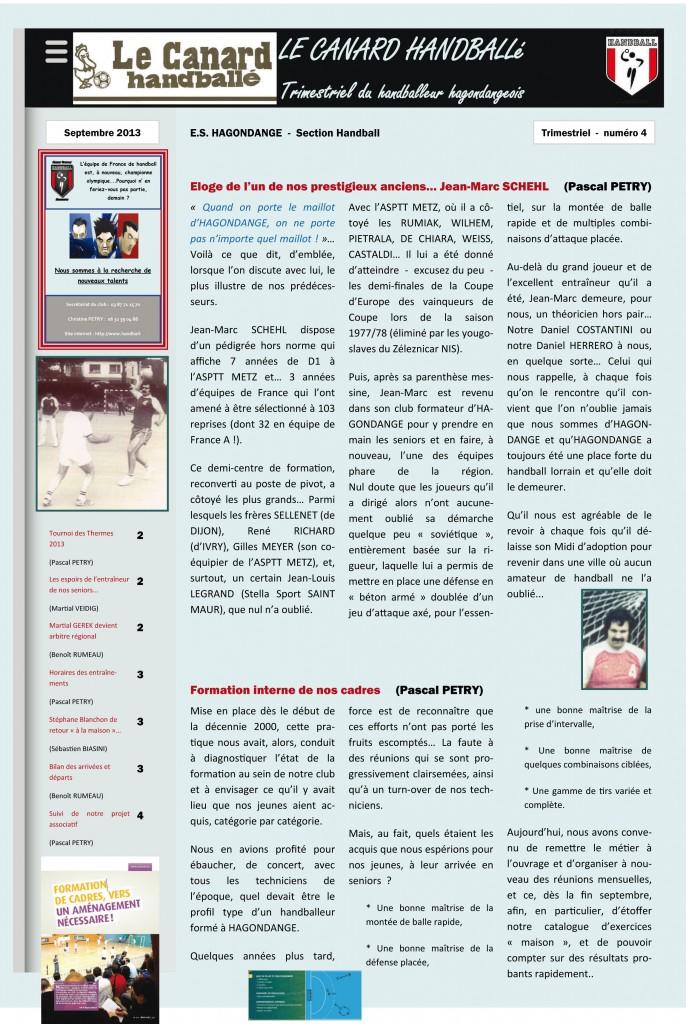 CANARD HANDBALLé - n°4 - Octobre 2013